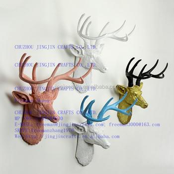Deer Head Wall Art white,pink,blue,black,golden colourful painted resin deer head