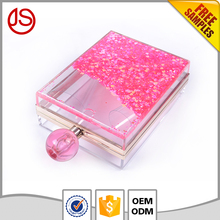 Wholesale moving glitter perfume bottles handbag transparent acrylic clutch bag