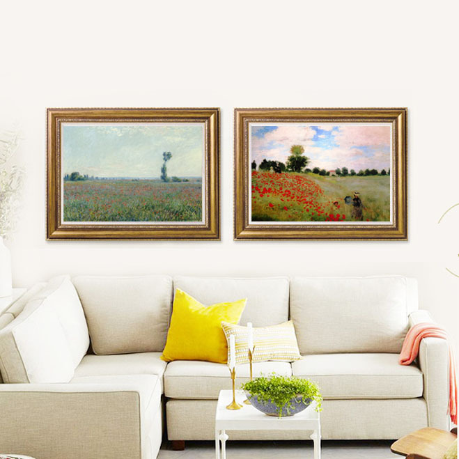 2 piece painting Claude Monet Poppy field+flowers spring summer home decor Printed Canvas with Handtouch oil canvas Art
