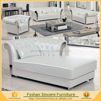 Living Room Silver White Luxury Tufted Leather Sofa Set