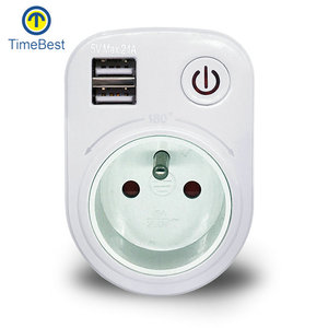 Universal EU Dual USB 16A 180 Angel Rotate Charger Travel Power USB Adapter