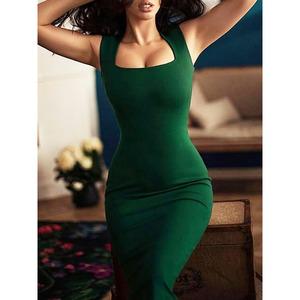 Women's Elegant Evening Dress Sleeveless Solid Color Bodycon Party Midi Dresses
