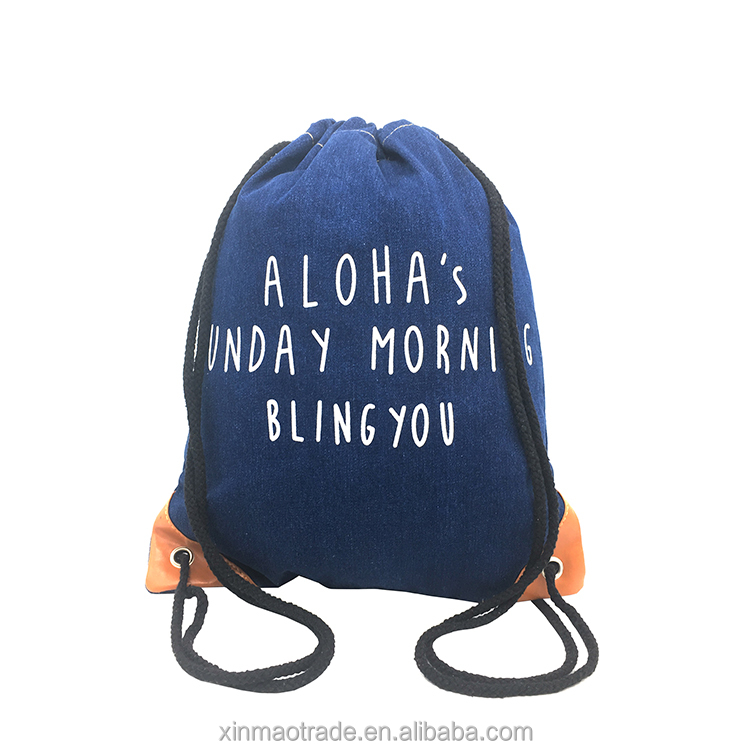Denim Fabric Drawstring Soft Back Bag For Students,Fashionable Drawstring Beach Bag For Women