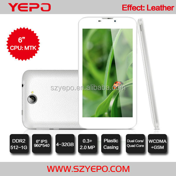 High Quality IPS Android 4.4Quad Core Phone WCDMA 850/1900/2100 GSM Dual Sim 6 inch Tablet PC