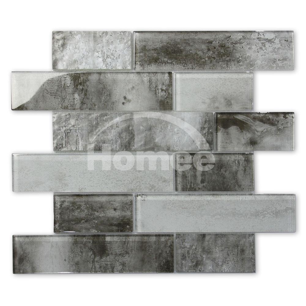 - Shower Grey Backsplash Mini Subway Tile Color Mix Inkjeted