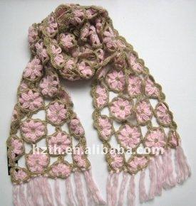 Moda crochet flores de la bufanda