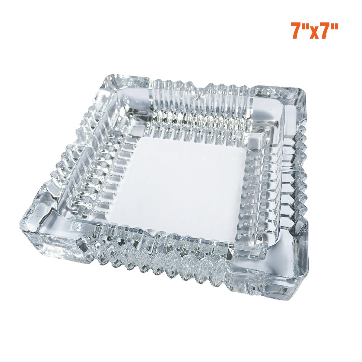 BSWEEII Large Square Glass Ashtray for Men,Big Cigar Smoke Ashtray for Home and Restaurant 7x7inch