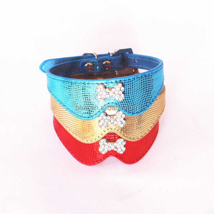 Bow Tie Crystal Rhinestones Decorative Glitter Bone Pet Dog Collars Products