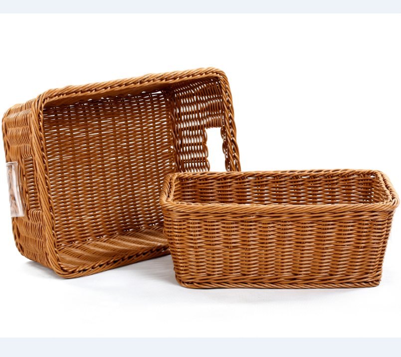 PP Plastic wicker handmade eco-friendly food storage foldable basket