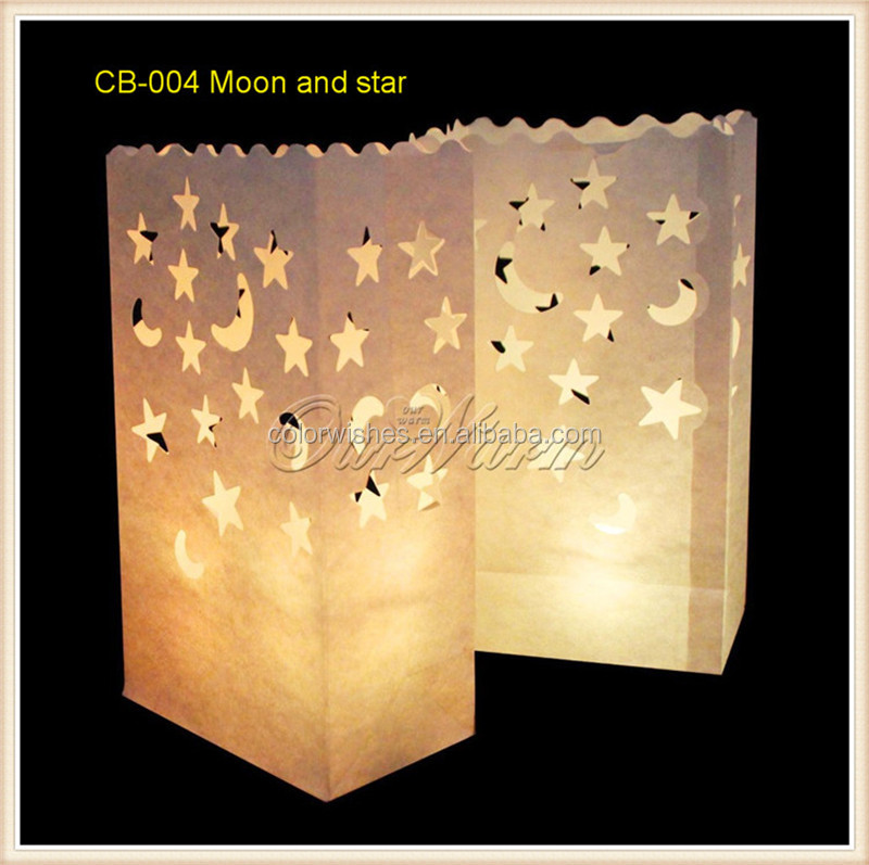 White Luminary Moon & Star Paper Candle Bags Wedding Party Supplies