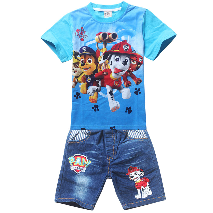 Paw Dog Patrol 2016 Children Girls Boys Cartoon sets Costume Clothing set for Kids Clothes Girls shorts T-shirts+Jeans pants
