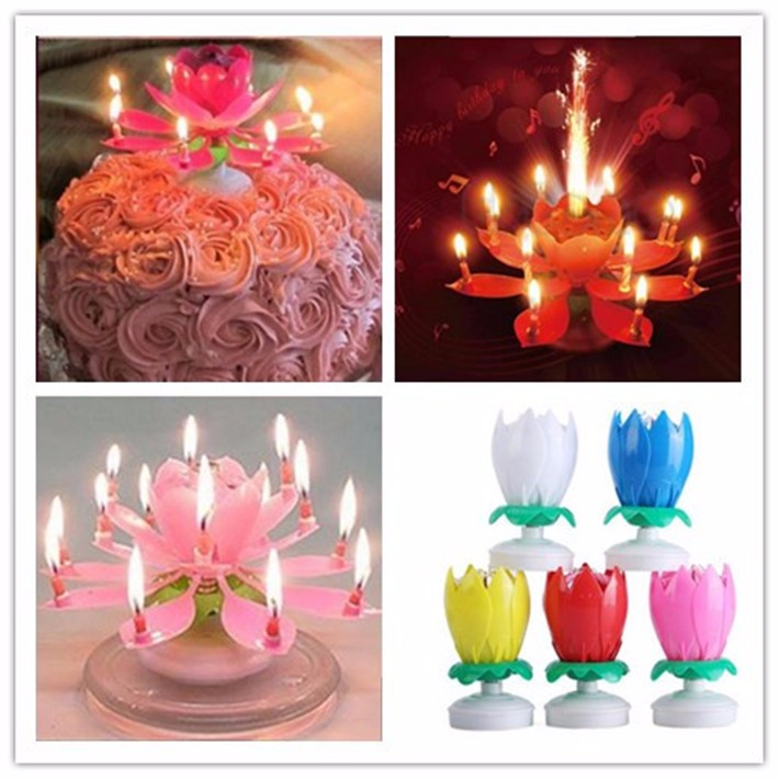 Single Double Layer Music Birthday Candle Rose Flower Rotate Blister Packing Fire Proof Petals