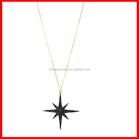 pave black cubic zirconia star pendant christmas gift gold necklace designs with price