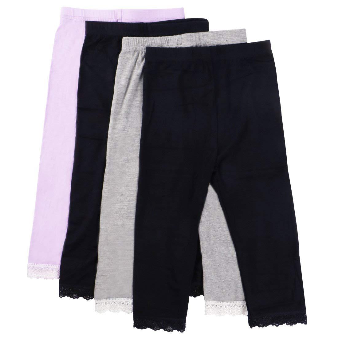 ebe2fd74ae785e Get Quotations · MyKazoe Girls Ultra Soft Seamless Capri Leggings With Lace  Trim (Set of 4)