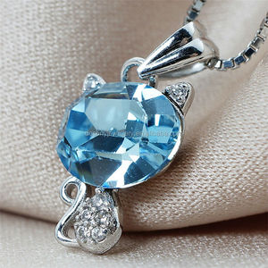Destiny Jewellery 925 Silver gemstone pendant With 18K White Gold Plated Pendantwith Crystal from Swarovski