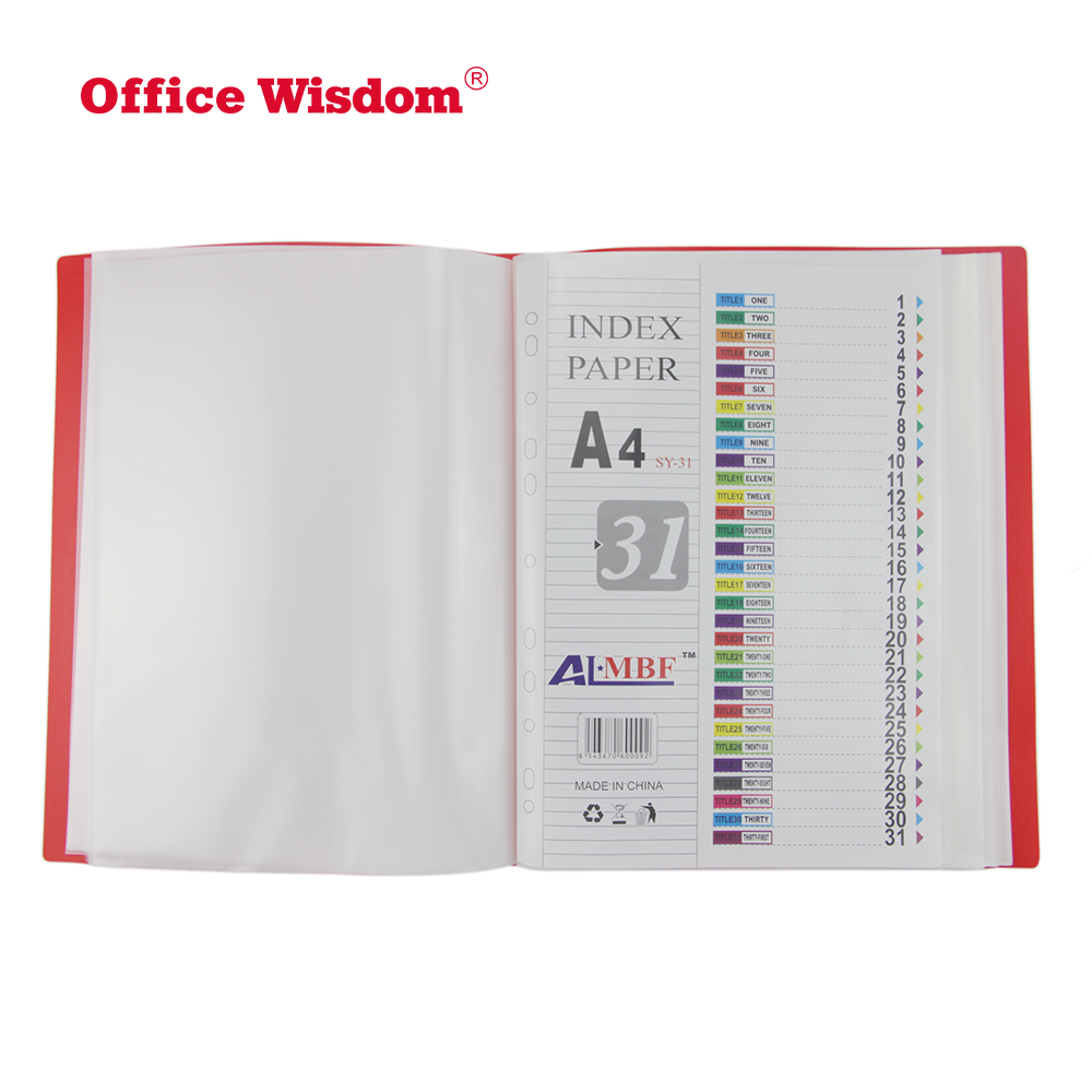 Presentation 20 pockets a4 display clear book file folder document holder document folder