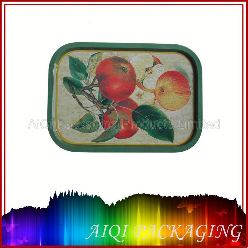 Delicate small rectangular metal tin box for candies