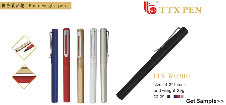 Stationery Cheap Full Color Custom Logo Plastic Fountain Pen With Metal Clip