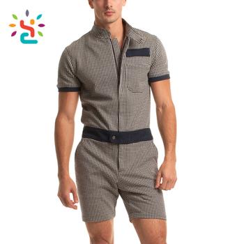7939da3430 Plaid zipper mens romper Cozy adult men zip short sleeve rompers custom  label own Pocket Overalls