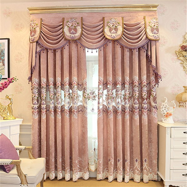 Cheap fancy wholesale pink sheer chenille curtains with valance