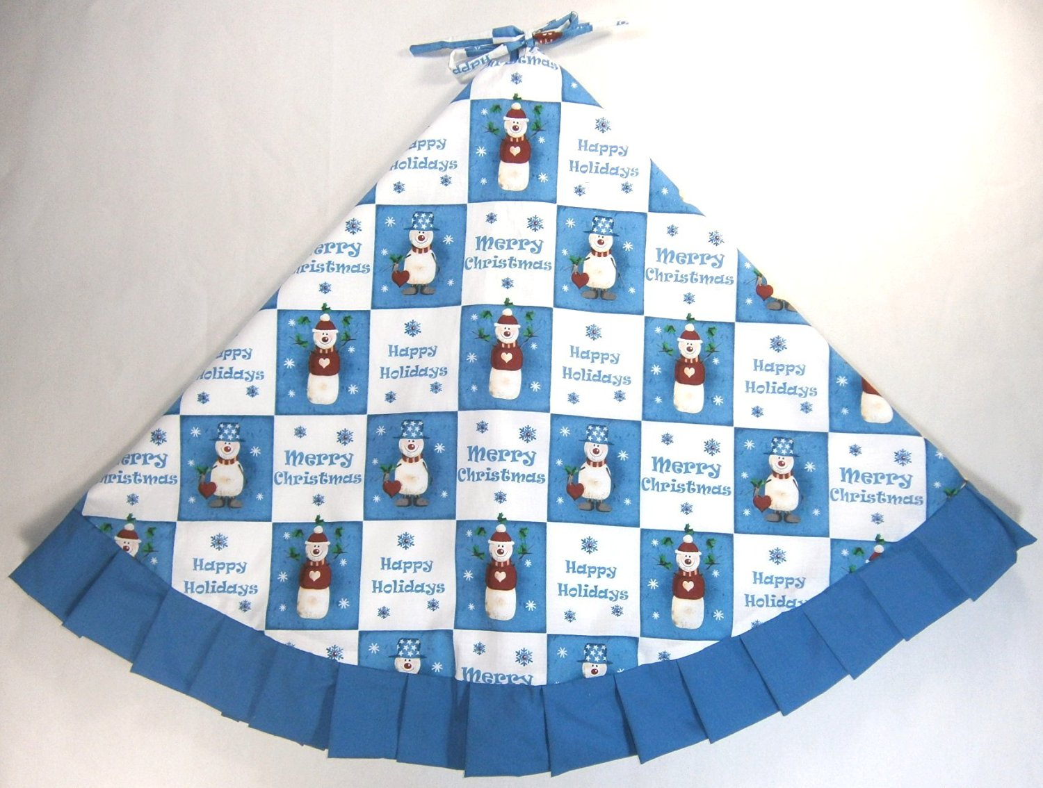 get quotations christmas tree skirt 47 blue white with snowmen and merry christmas - Blue And White Christmas Tree