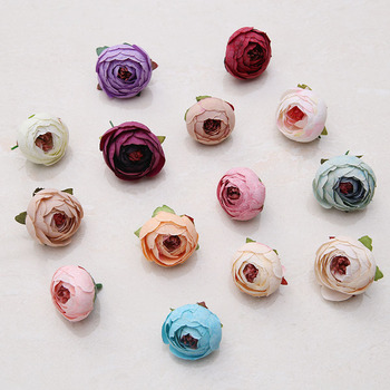 Cheap Artificial Wedding Decorative Colorful Silk Rose Peony Flower Heads size 3.5cm