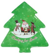 35.6*27.8cm high quality SGS-approved food-grade -safe christmas tree melamine serving plate with full printing (B3002)
