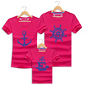 2016 Real Top Casual Summer Holiday Family Looks Mother Father Baby Cotton Beach Short sleeved T