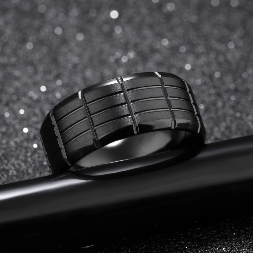 Fashion Jewelry Cusrom Mens Black Stainless Steel Titanium Ring