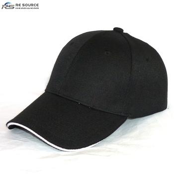 7beb145d9f7e4 wholesale cheap 100% polyester acrylic plain black sandwich structured baseball  cap