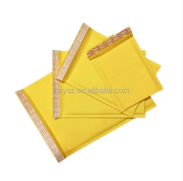 Button Kraft Paper Envelope Peal Mailing Bag Clothing Recycled Jiffy Seal A4 C6 Yellow Packaging Wrapping Craft Bubble