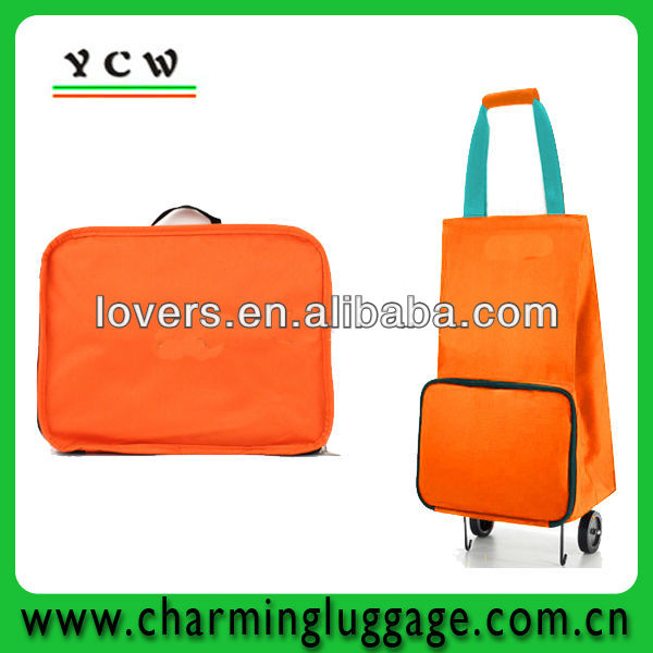 OEM portable folding shopping trolley bag with wheels