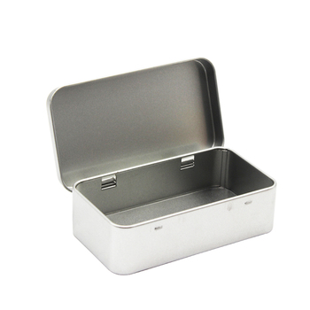 Rectangle shape custom hinged cheap high quality oem accepted small metal plain tin boxes