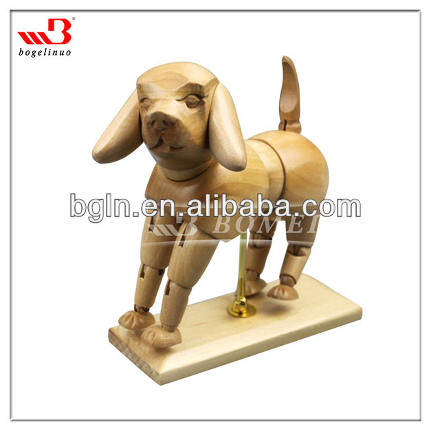 rotable wooden dog art manikin