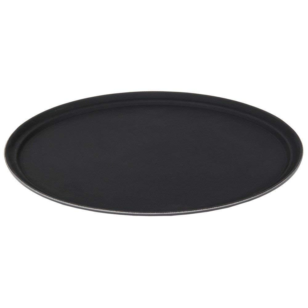 Black Stanton Trading Non Skid Rubber Lined 16-Inch Plastic Round Economy Serving Tray