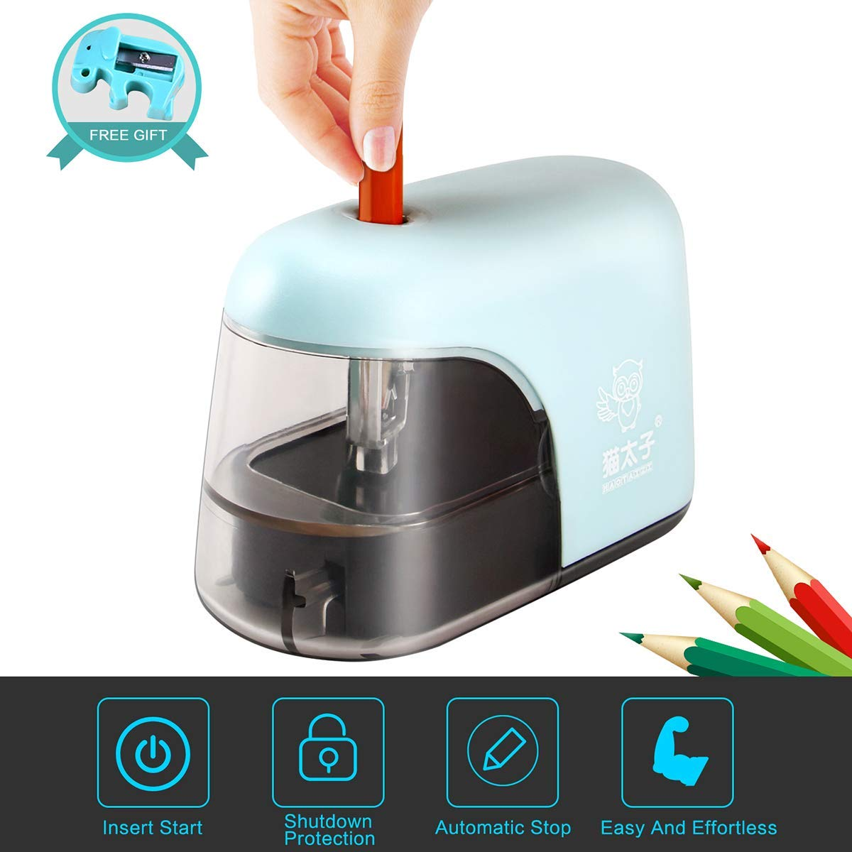 Electric Pencil Sharpener, Auto-Stop Safty Feature Electric Pencil Sharpener, Cute Mini Electric Pencil Sharpener Electric Pencil Sharpener For Kids. Mini Cute Electric Pencil Sharpener Small Electric