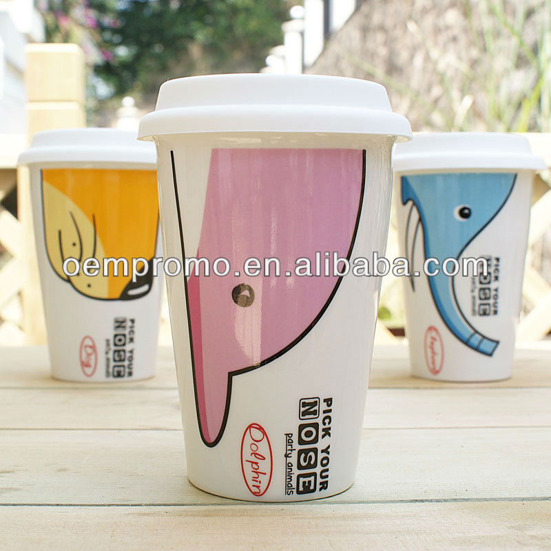 11 oz Ceramic Double Wall Mug With Silicone Lid