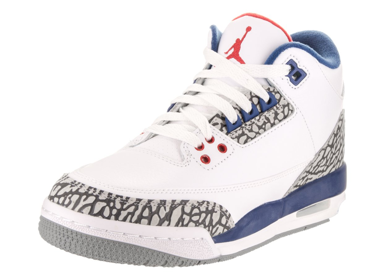 854261-106 GRADE SCHOOL AIR 3 RETRO OG BG JORDAN WHITE RED BLUE