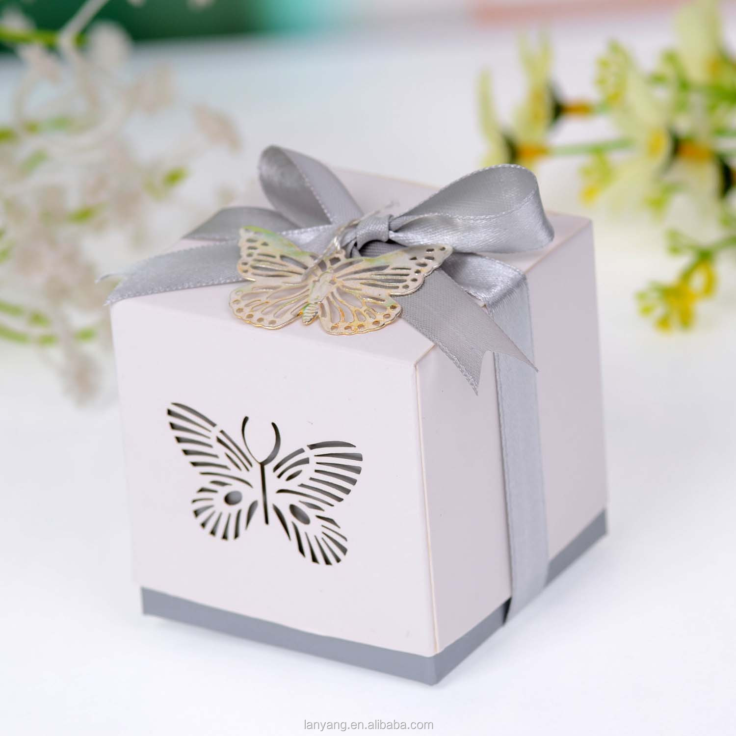 Butterfly Laser Cut Wedding Favor Box With Bow Knot Squared Candy ...