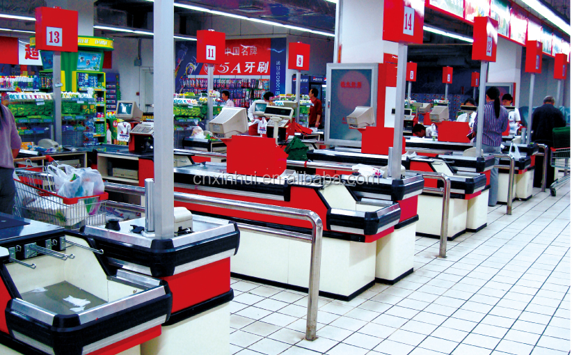 Supermarket Checkout Counter For Store Or Supermarket Cash
