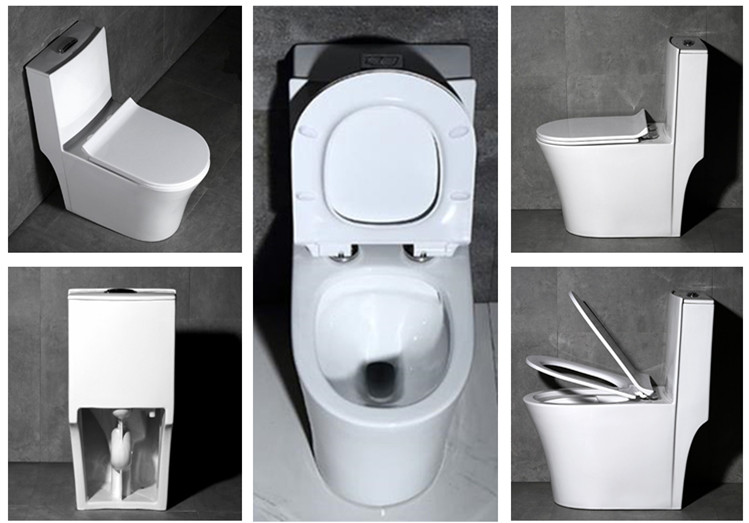 Water saving ceramic one piece toilets with flushing system