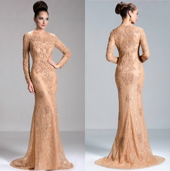 Jq08 Nude Color High Collar Dubai Evening Gowns Muslim Lace Plus
