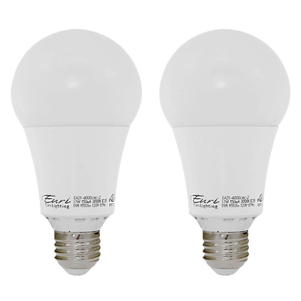 Euri Lighting EA21-4000cec-2 LED A21 Bulb, E-Lite Line, Soft White 3000K, Dim, 17W (100W Equivalent) 1600 lm 313 Degree Beam Angle, 90+ CRI, Med. Base (E26) UL, E-Star Listed, CEC (Pack of 2)