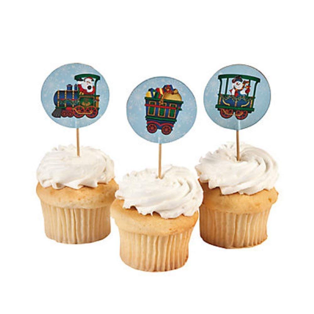 Holiday Train Cupcake Picks / Food Picks ~ 24 Picks ~ Paper Train Icon / Wooden Stick ~ New