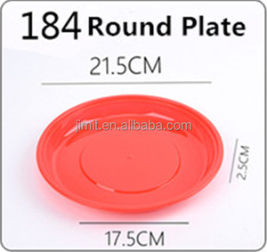 PP Round plate disposable red plastic dishes and plates eco friendly premium disposable red plastic plates