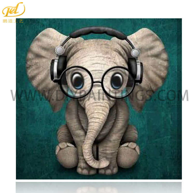 5d Diy Berlian Lukisan Lucu Gajah Cross Stitch MQ419