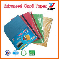 Color embossed paper leather paper with texture for hot selling