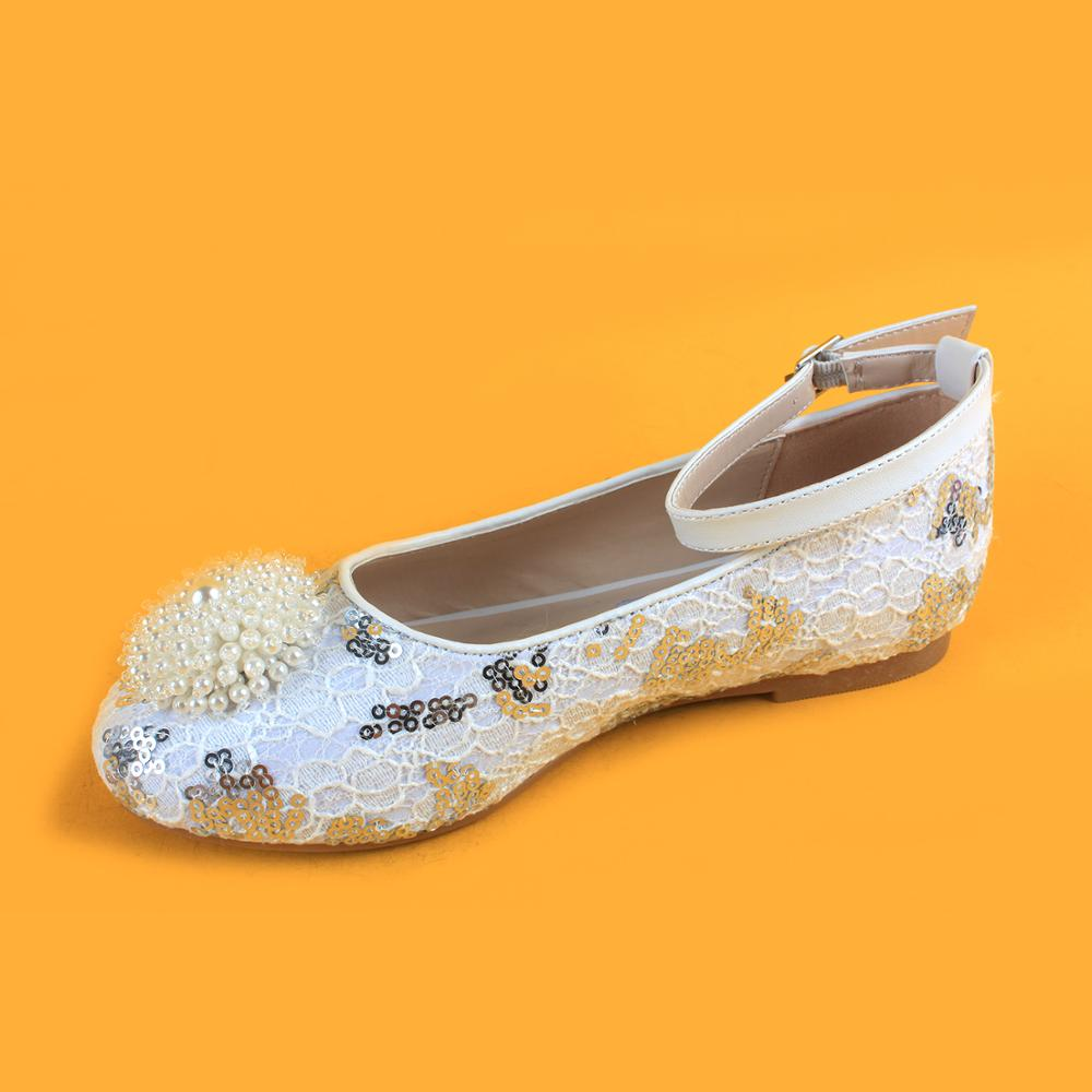 352790803 girls white lace ankle strap flats casual party sparkly shoes for girls