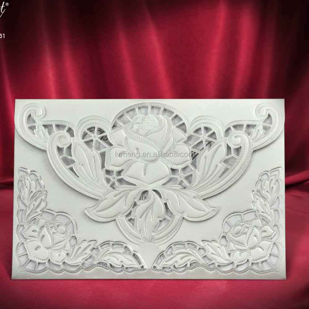 Lovely handmade greeting 3d wedding card,wedding invitation card laser cut