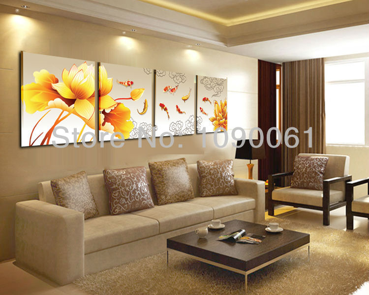 Hand Painted 4 Piece Koi Fish Lotus Oil Painting Abstract